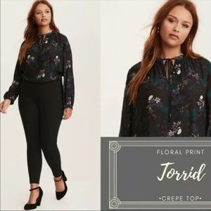 Torrid Dark Floral Blouse Crepe Tie Neck 2